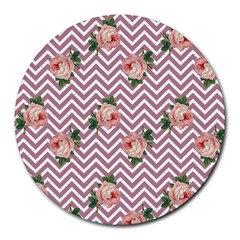Violet Chevron Rose Round Mousepads
