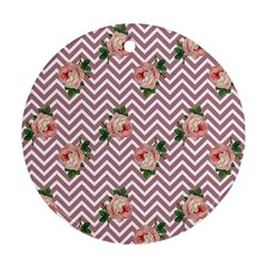 Violet Chevron Rose Round Ornament (two Sides)