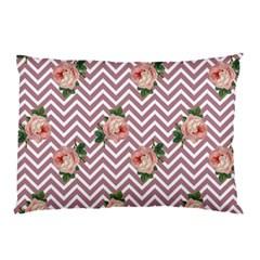 Violet Chevron Rose Pillow Case