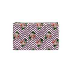 Violet Chevron Rose Cosmetic Bag (small)