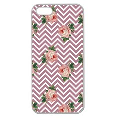 Violet Chevron Rose Apple Seamless Iphone 5 Case (clear)