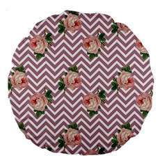 Violet Chevron Rose Large 18  Premium Round Cushions