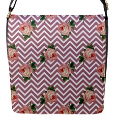 Violet Chevron Rose Flap Messenger Bag (s)