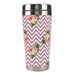 Violet Chevron Rose Stainless Steel Travel Tumblers