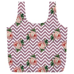 Violet Chevron Rose Full Print Recycle Bags (l)