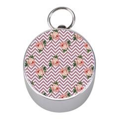 Violet Chevron Rose Mini Silver Compasses