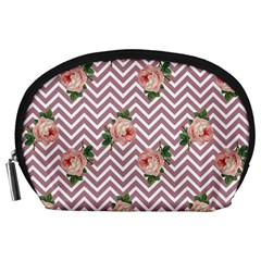 Violet Chevron Rose Accessory Pouches (large)