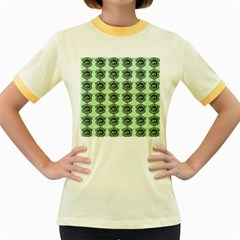 Three Women Green Women s Fitted Ringer T Shirts