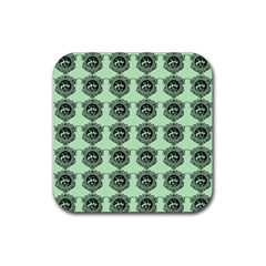 Three Women Green Rubber Square Coaster (4 Pack)