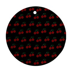 Cherries Black Round Ornament (two Sides)