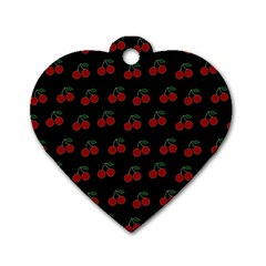 Cherries Black Dog Tag Heart (two Sides)