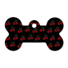 Cherries Black Dog Tag Bone (one Side)