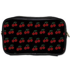 Cherries Black Toiletries Bags