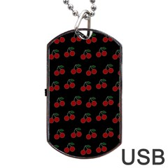 Cherries Black Dog Tag Usb Flash (two Sides)