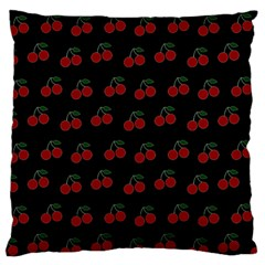 Cherries Black Large Flano Cushion Case (two Sides)