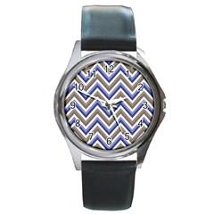 Chevron Blue Beige Round Metal Watch