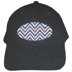 Chevron Blue Beige Black Cap