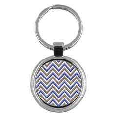 Chevron Blue Beige Key Chains (round)