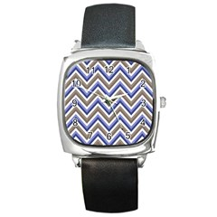 Chevron Blue Beige Square Metal Watch