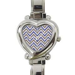 Chevron Blue Beige Heart Italian Charm Watch