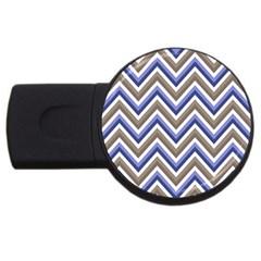 Chevron Blue Beige Usb Flash Drive Round (4 Gb)