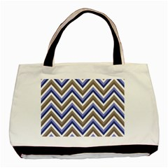 Chevron Blue Beige Basic Tote Bag
