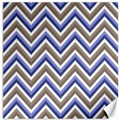 Chevron Blue Beige Canvas 16  X 16