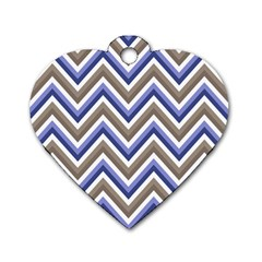 Chevron Blue Beige Dog Tag Heart (two Sides)