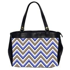 Chevron Blue Beige Office Handbags (2 Sides)