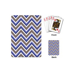 Chevron Blue Beige Playing Cards (mini)