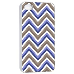 Chevron Blue Beige Apple Iphone 4/4s Seamless Case (white)