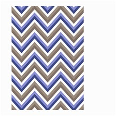Chevron Blue Beige Small Garden Flag (two Sides)