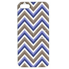 Chevron Blue Beige Apple Iphone 5 Hardshell Case With Stand