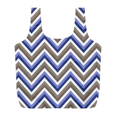 Chevron Blue Beige Full Print Recycle Bags (l)