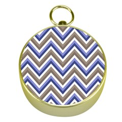 Chevron Blue Beige Gold Compasses