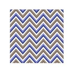 Chevron Blue Beige Small Satin Scarf (square)