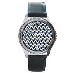 Chevron Blue Brown Round Metal Watch
