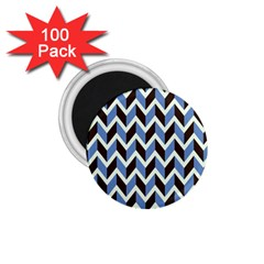 Chevron Blue Brown 1 75  Magnets (100 Pack)