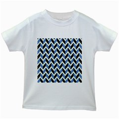 Chevron Blue Brown Kids White T Shirts