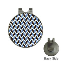 Chevron Blue Brown Hat Clips With Golf Markers