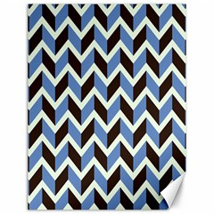 Chevron Blue Brown Canvas 12  X 16