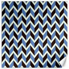 Chevron Blue Brown Canvas 16  X 16