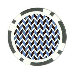 Chevron Blue Brown Poker Chip Card Guard (10 Pack)