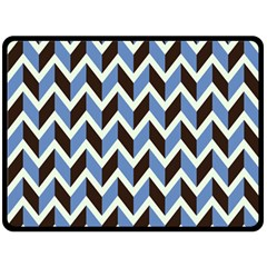 Chevron Blue Brown Fleece Blanket (large)