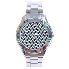 Chevron Blue Brown Stainless Steel Analogue Watch