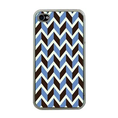 Chevron Blue Brown Apple Iphone 4 Case (clear)