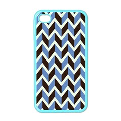 Chevron Blue Brown Apple Iphone 4 Case (color)