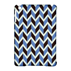 Chevron Blue Brown Apple Ipad Mini Hardshell Case (compatible With Smart Cover)
