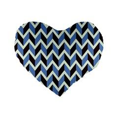 Chevron Blue Brown Standard 16  Premium Heart Shape Cushions