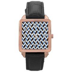 Chevron Blue Brown Rose Gold Leather Watch